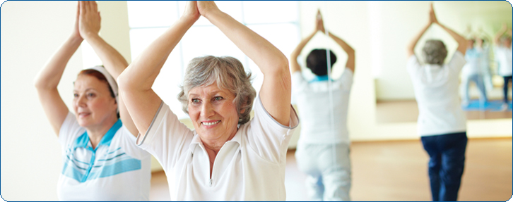 elder ladies in yoga class